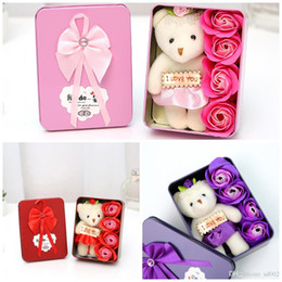 Wholesale flower gift valentine - Rectangle Artificial Rose Soap Flower With Cartoon Plush Bear Bouquet Home Decoration Soaps Flowers For Wedding Valentines Day Gift 5 5sm BB