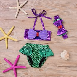 Wholesale bikini top xs - Baby Girls Mermaid Swimsuits Tankini Bikini Swimwear Top+Brief +Headband 3PCS Toddler Kids Swimsuit Bathing Suit Beachwear FFA033