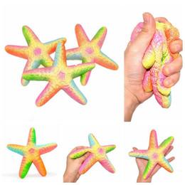 decoración de estrellas de mar Rebajas 19 cm Jumbo Starfish Squishy Toy Squeeze Slow Rising Colorful Starfish Rainbow Home Decor Kids Regalo Juguetes BBA99