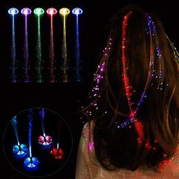 Fibra óptica intermitente partido on-line-50 pcs Brilho LED Borboleta Grampo de Cabelo Piscando Flash Braid Show Partido Brinquedos Crianças Headwear Colorido Trança Luminosa Fio De Fibra Óptica Hairpin