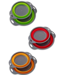 Wholesale Wholesale Fruit Baskets - Hot 2pcs set Foldable Silicone Colander Fruit Vegetable Washing Basket Strainer Collapsible Drainer With Handle Kitchen Tool