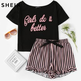 Wholesale Sleep Wear Sets - Wholesale-SHEIN Letter Print Short Sleeve Top and Striped Shorts Pajama Set Ladies Summer Sleep Wears Womens Casual Pajama Sets