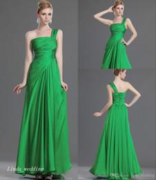 2e6058446ca Mode Une épaule Maxi robe de bal Vert émeraude Robe de soirée longue en  mousseline de soie - Occasion spéciale peu coûteux une épaule émeraude vert  robes de ...