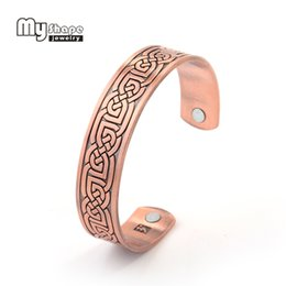 Wholesale Magnetic Therapy Bangles - whole salemy shape Therapy Indian Jewelry magnetic bracelet health Antique Copper woman men jewelry power Vintage Man Cuff Bangle