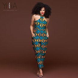 Wholesale womens pants rompers - Yilia Womens Rompers Jumpsuit Summer 2018 Women African Print Clothing Sleeveless Halter Casual Sexy Fashion Party Wide Leg Pant
