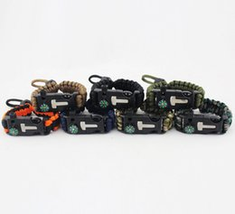 Wholesale Military Paracord Bracelet - 550 Outdoor Emergency Woven Military Braided adjustable knot Paracord Survival Bracelet with whistle and compass free shipping