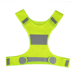 Wholesale yellow reflective vest - Safety Reflective Vest Adjustable Lightweight Sports Gear Outdoor Cycling Glow Night Running Vest Landscape Security Safety