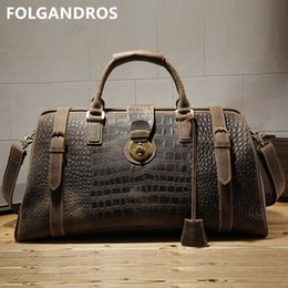 Men s Travel Duffle Bag Genuine Leather Crocodile Pattern Large Capacity  Lock Male Travel Business Bag Crazy Horse Leather Totes 408cc04409741