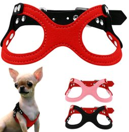 Wholesale Dog Collar Leather Harness - Dog Harness Vest Puppy Collar Soft Suede Leather Dog Harness Pet Puppy Glasses Style for Small Dogs EEA370 15pcs