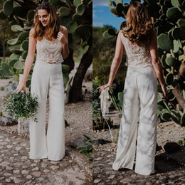 Wholesale Bohemian Style Wedding Dresses - 2018 Newest Two Pieces Bohemian Pant Suit Wedding Dresses Beaded Pearls See-through Country Style Beach Bridal Gowns Custom Made