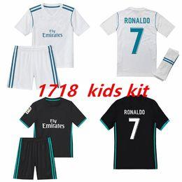 Wholesale Girls Kids Football - 2017 2018 Real Madrid child soccer jersey Home away Kid kits17 18 RONALDO SERGIO RAMOS JAMES BALE RAMOS ISCO MODRIC Benzema football shirts