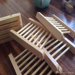 Accesorios de soporte de madera online-Bandeja de jabón para baño Bandeja de jabón hecha a mano Caja de madera para platos de jabón Jabón para platos Accesorios para el hogar Envío gratis
