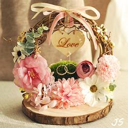 cestas de flores para casamentos Desconto Ninho da floresta anel travesseiro portador flor rosa foto adereços casamento decoração cunha proposta de casamento proposta de idéia frete grátis