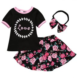 Wholesale Vintage T Shirts Wholesale - Ins Baby girl Vintage Floral Love T-shirt Tees+ Rose skirt +Headband 3pcs set Outfits Baby girls clothes 2018 Summer