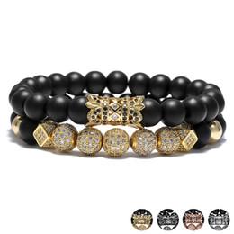 Wholesale rivet brass - 2018 Luxury Crystal Ball Ethnic Hollow Rivet Charm Bracelets Set For Women Men Jewelry Matte Beaded Bracelet Accessories