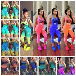Wholesale boxing vest - 10 Styles Pink Letter Outfit Sleeveless Vest Tights Pants Tracksuit Women Summer Gradient Color Jogging Suits 2pcs set CCA9733 12et