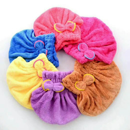 Wholesale Fleece Textiles - Shower cap quick dry hair towel absorbing bathing cap hair drying ponytail holder cap lady coral fleece hair hooded towel textiles