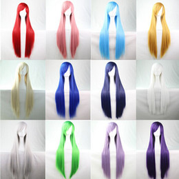 cosplay white straight long hair Coupons - WoodFestival long straight wig Pink Silver Black Blue Brown Red Yellow White Blonde Purple cosplay wig fiber hair wigs with bangs 80cm