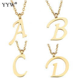 Wholesale Gold Steel Choker - whole saleYYW Women Men Gold-color Stainless Steel Jewelry Pendant Necklace Dance Letter A to Z Alphabet Drop Dangle Choker Chain Necklace