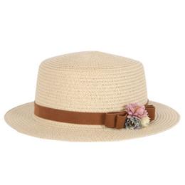 Wholesale Vintage Straw Hats - Summer Elegant Floral Hats for Women Ladies Causal Beach Cap Vintage Women's Straw Hat Bowknot