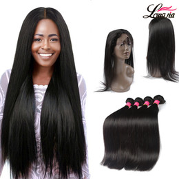 Wholesale cheap virgin brazilian hair closures - Brazilian Straight Virgin Hair With 360 Lace Frontal Closure Human Hair 3 bundles With Closure Natural Color Cheap Pre Plucked Lace Frontal