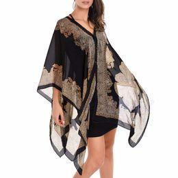 Vestido de baño de gasa de 5 colores para mujer, traje de baño de bikini de playa Sarong, bufanda larga desde fabricantes