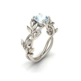 Anéis de videira on-line-Casamento De Prata De Cristal Cor Anéis Folha De Videira Design de Noivado Cubic Zircon Anel Moda Bijoux Para As Mulheres Senhoras Presentes Da Jóia