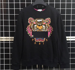 embroideries sweatshirts Promo Codes - New Brand Hoodies Sweatshirts Men Tiger Head Embroidery Eye Winter Women Hoodie With K to O Letters Designer Streetwear Jogger Tops Clothing