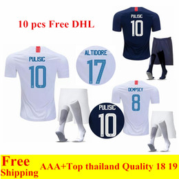 57380bf86ba 2018 United States World Cup home away soccer Jerseys PULISIC 10 DEMPSEY  BRADLEY 18 19 USA Mens maillot de foot football Kits S-XL