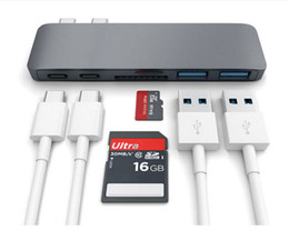 Wholesale Multifunctional Usb Adapter - High Quality Multifunctional 6 in 1 USB C Hub Adapter Dual USB 3.0 SD TF Card Reader Type C Sync&Data Charging for MacBook 10pcs DHL