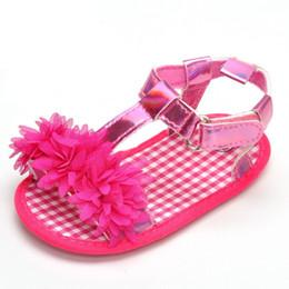Wholesale Pink Infant Sandals - Sweet Baby sandals Girls Big Flower Prewalkers Shoes Crib Bebe Princess First Walkers Infant Toddler Soft Soled Shoe For Newborn