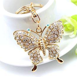 porte-bijoux papillon Promotion 1 pcs Haute Qualité Strass Papillon Bijoux Porte-clés Femmes Porte-clés Chaîne Anneau Sac De Voiture Pendentif