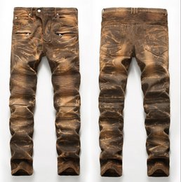 Wholesale Denim Tube - New Personality Style Men Jeans Tide Personality Straight Tube locomotive Holes pants Snow wash Hip hop Jeans Dropshipping