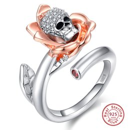 Wholesale Sterling Silver Skull Rings - whole saleNEW Rose Flower Gothic Skull 925 Sterling Silver Ring For Women leaves Punk Style Motor Biker Men Ring with AAA CZ skull jewelry