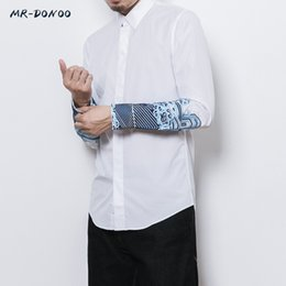 Wholesale Japanese Slimming Shirt - MRDONOO Autumn Japanese Chinese style men's embroidered long sleeve young man retro casual slim embroidered stand-collar shirt