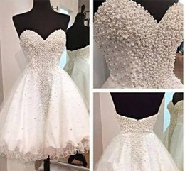 Wholesale Cheap Sexy Clubwear Dresses - Real Photos Pearls Short Homecoming Dresses 2018 Sweetheart Beaded A Line 8th Grade Graduation Cocktail Party Gown Cheap Clubwear Cheap
