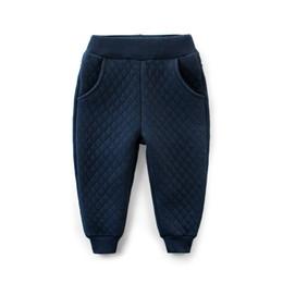 2019 12 meses ropa de marcas para niños Rainbow Angle Cotton Baby Boys Baby Girls Pantalones de algodón acolchado Sólido Straight Kids Slacks para Otoño Invierno