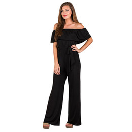 7ccffe58168 Fashion Women s Jumpsuit Summer Off The Shoulder Ruffle Wide Leg Jumpsuits  Short Sleeve Bow Wasit Solid Romper Party Wear  VE