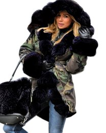 women s long parka UK - Roiii Thickened Warm Loose Camouflage Black Faux Fur Casual Parka Fashion Women Hooded Long Winter Jacket Overcoat EU Size 36-50