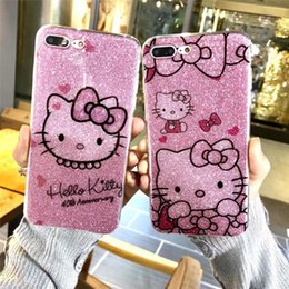 Wholesale Wholesale Iphone Anime Case - 2018 High Quality Fashion Gorgeous Cute Anime Hello Cat Pattern Female Phone Case Flash Powder Mobile Shell for iPhone X 6 7 8 PLUS