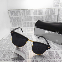 Wholesale Yellow Man Sunglasses Circle - High Quality Brand Designer Fashion Men Women Sunglasses UV400 Shade 51MM Round Sport Vintage Sun Glasses Circle Eyewear With Box with Case