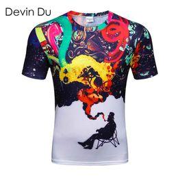 großhandel bunte t-shirts Rabatt Großhandels-Devin Du Marke Mode 2017 Herren 3D Bunte Smoke Smoking Bedruckte T-Shirts Homme Tees Tops Hochwertige Großhandel Mode