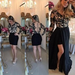 indian short gown Coupons - Sexy Black Lace Long Sleeve Prom Dress 2018 Sheer Button Back Detachable Removable Skirt Indian Floral Evening Gowns