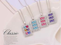 Boutique di cristallo online-12 Set / lotto, LIXINTAI quadrato intarsiato in cristallo Austria collana pendente da Swarovski Crystal Lover's Pendant Glittering Boutique gioielli