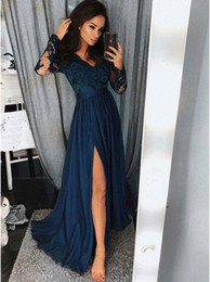 Wholesale Glamorous Line Party Dresses - Glamorous Long Sleeves Dark Blue Long Evening Prom Dresses Sexy V-neckline Lace Appliques Prom Party Dress Special Occasion Gowns Side Split