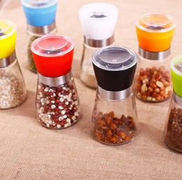 Wholesale shaker pepper - Pepper Salt Grinder Mill Glass Pepper grinder Shaker Salt Container Condiment Hand Mill Manual Grinding Kitchen Tool 100PCS GGA51