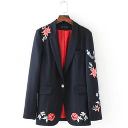 Wholesale Notch Collar Slim Fit Suits - Chic Embroidery Rose Flower Blazer 2017 New Woman Notched Collar Slim fit One Gold Metal Button Suit Jacket Coat Outerwear