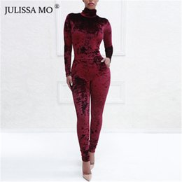 05047b1fce6a JULISSAMO 2018 New Long Sleeve Sexy Women Velvet Jumpsuit Turtleneck Pocket  Skinny Casual Rompers Womens Jumpsuit Party Overalls