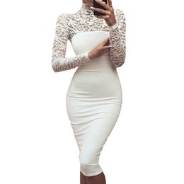 Wholesale Midi Dresses Sleeves - Sexy Women White Lace Dress New Turtleneck Long Sleeve Club Factory Bodycon Bandage Midi Party Dresses Plus Size 5XL A01018