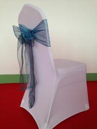 cinturão de cadeira de organza atacado Desconto Atacado-100 pcs Frete Grátis Hot Sale Teal Azul De Cristal Organza Chair Sash Chair Ribbon